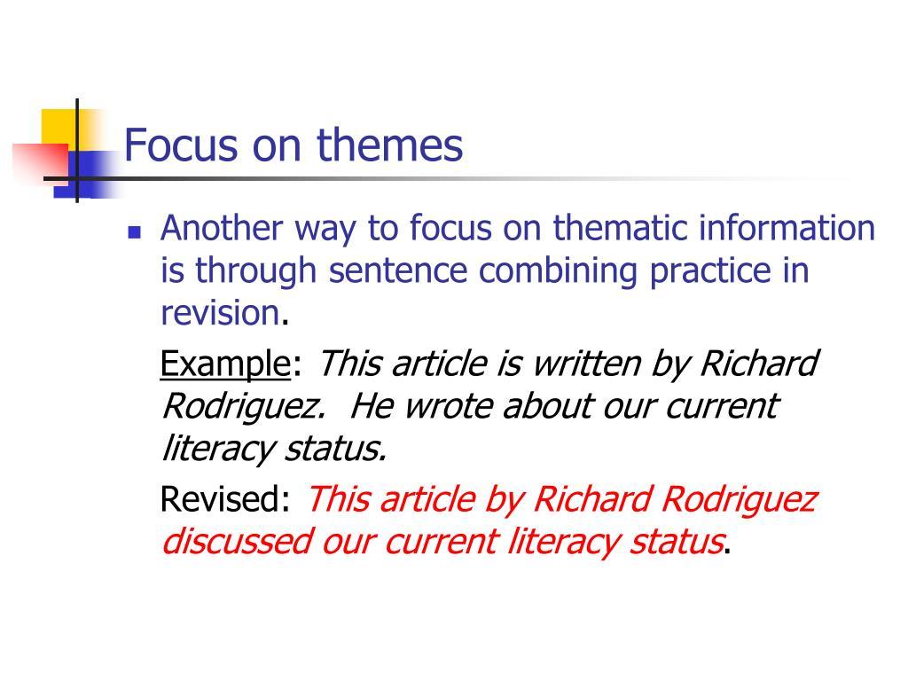 Focus on themes