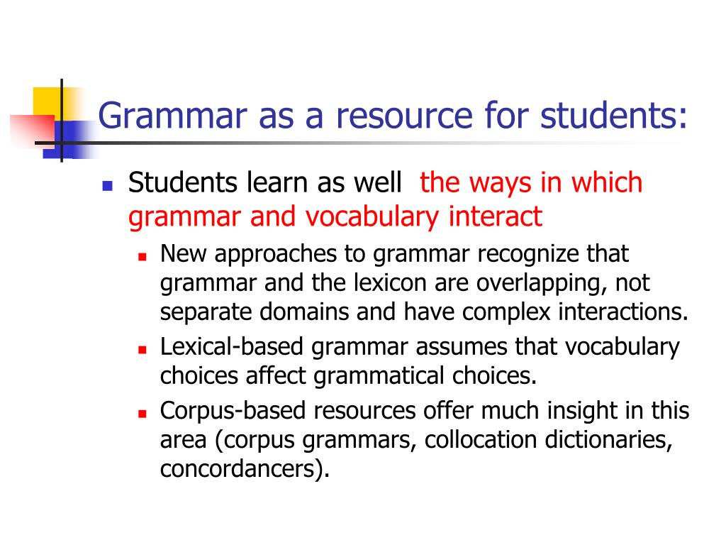 Grammar as a resource for students: