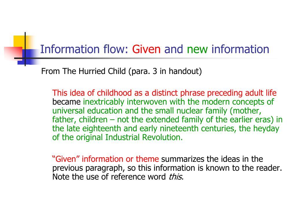 Information flow: