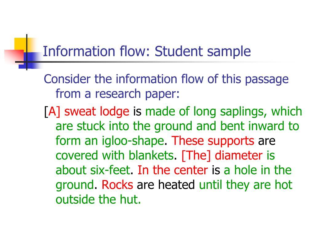 Information flow: Student sample
