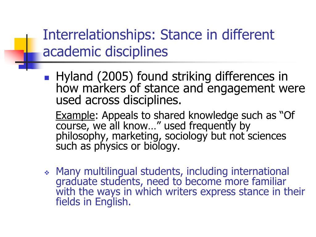 Interrelationships: Stance in different academic disciplines