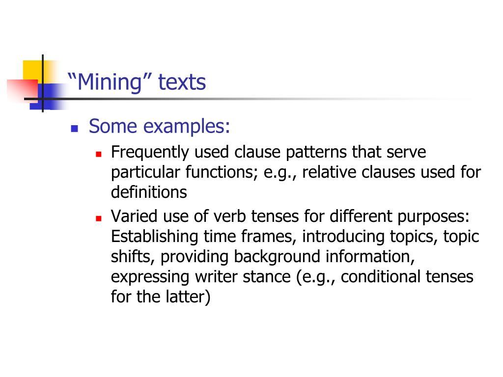 """Mining"" texts"