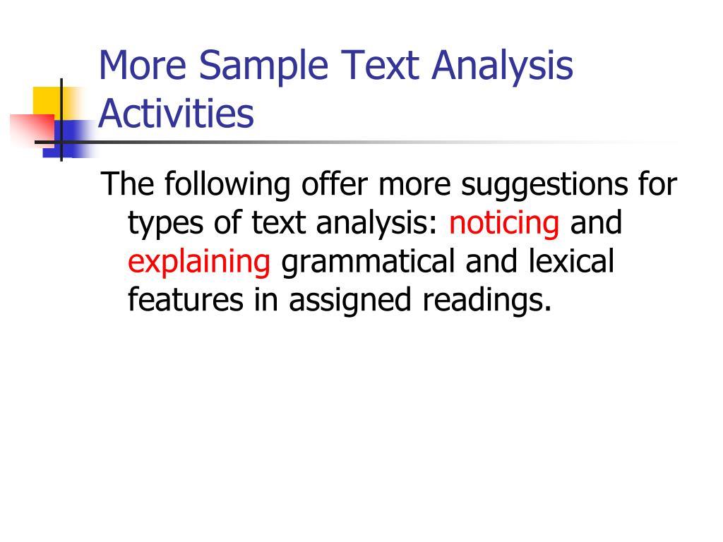 More Sample Text Analysis Activities