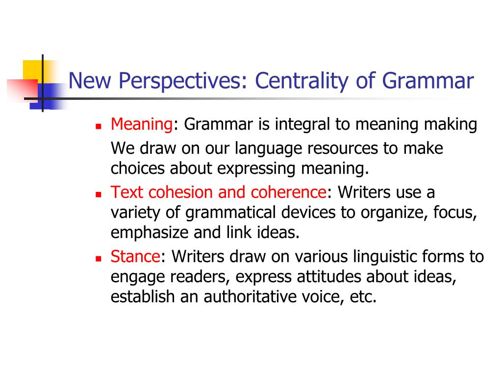 New Perspectives: Centrality of Grammar