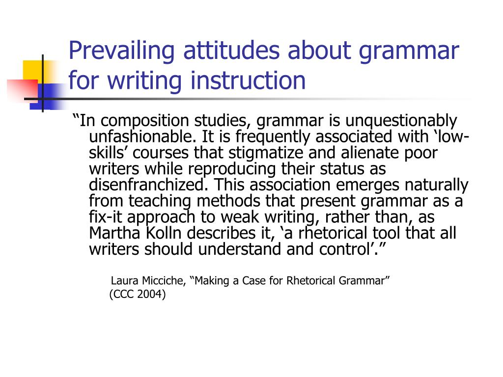 Prevailing attitudes about grammar for writing instruction