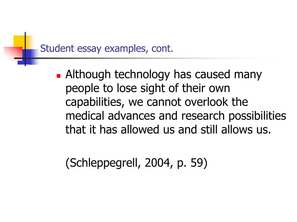 Student essay examples, cont.