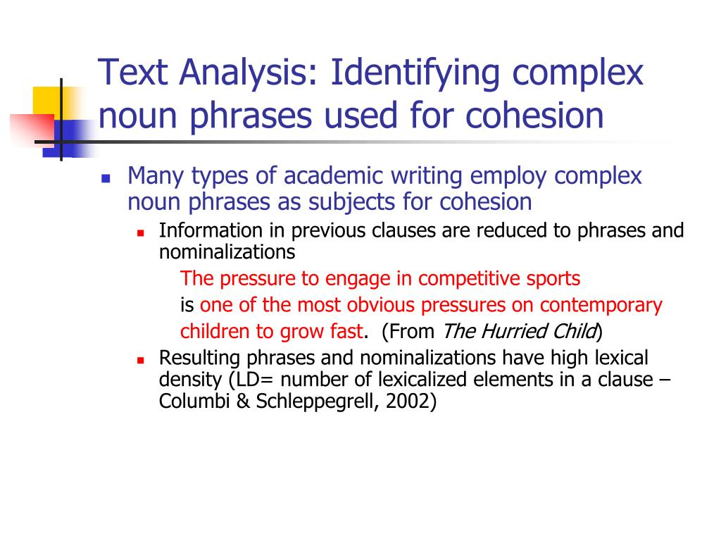 Text Analysis: Identifying complex noun phrases used for cohesion