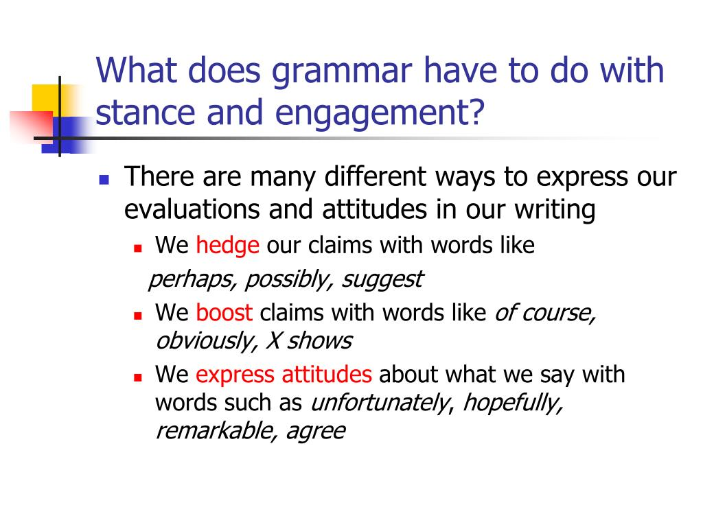 What does grammar have to do with stance and engagement?