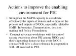 actions to improve the enabling environment for pei