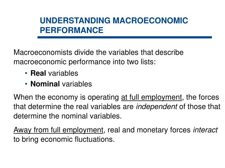 Understanding macroeconomic performance