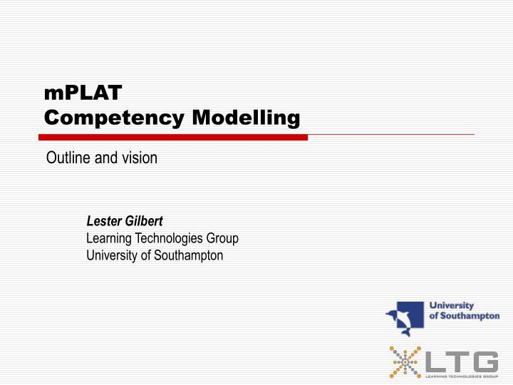 Mplat competency modelling