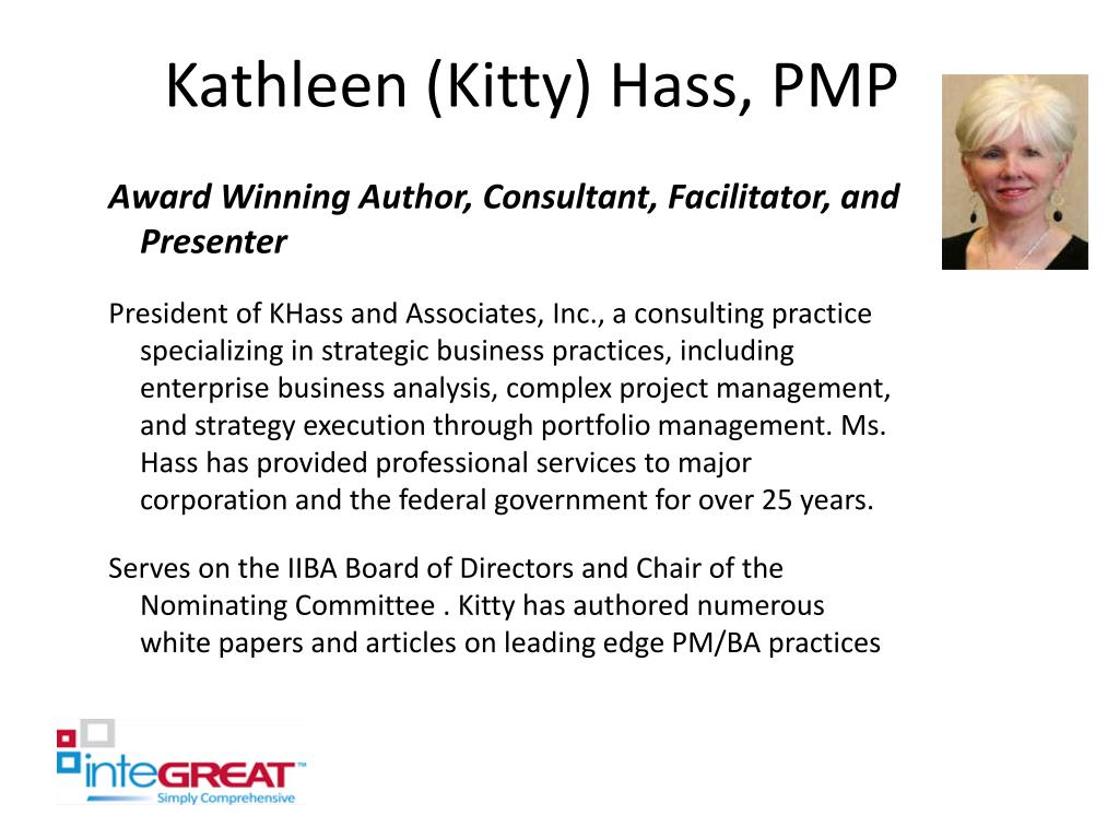 Kathleen (Kitty) Hass, PMP