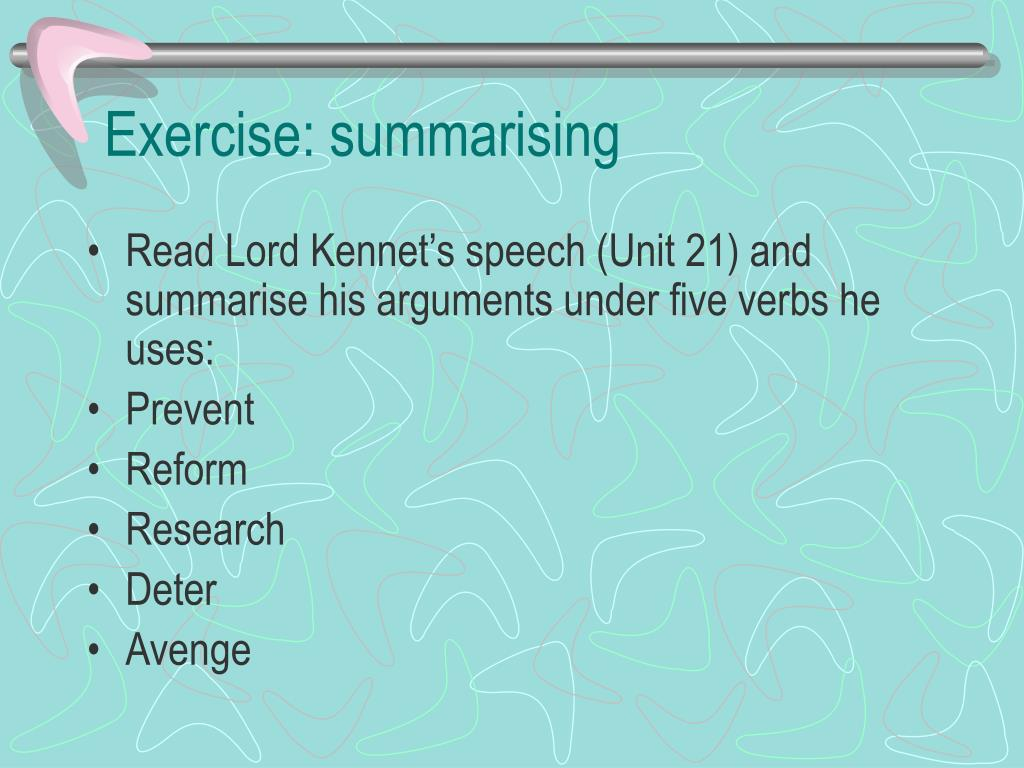 Exercise: summarising