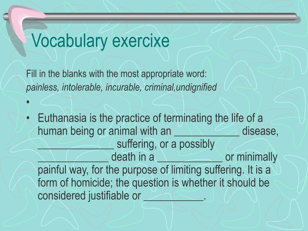 Vocabulary exercixe