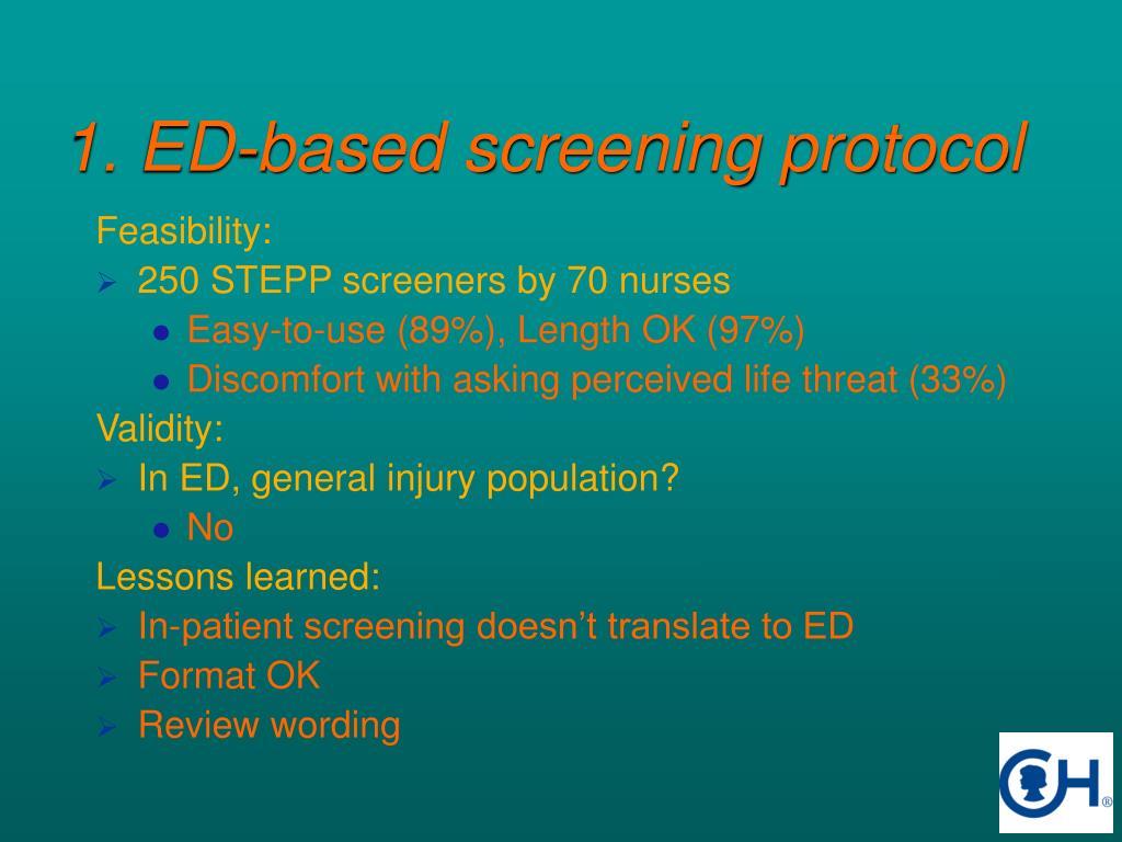 1. ED-based screening protocol