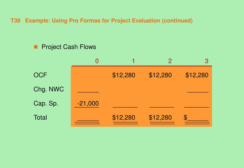 T38   Example: Using Pro Formas for Project Evaluation (continued)
