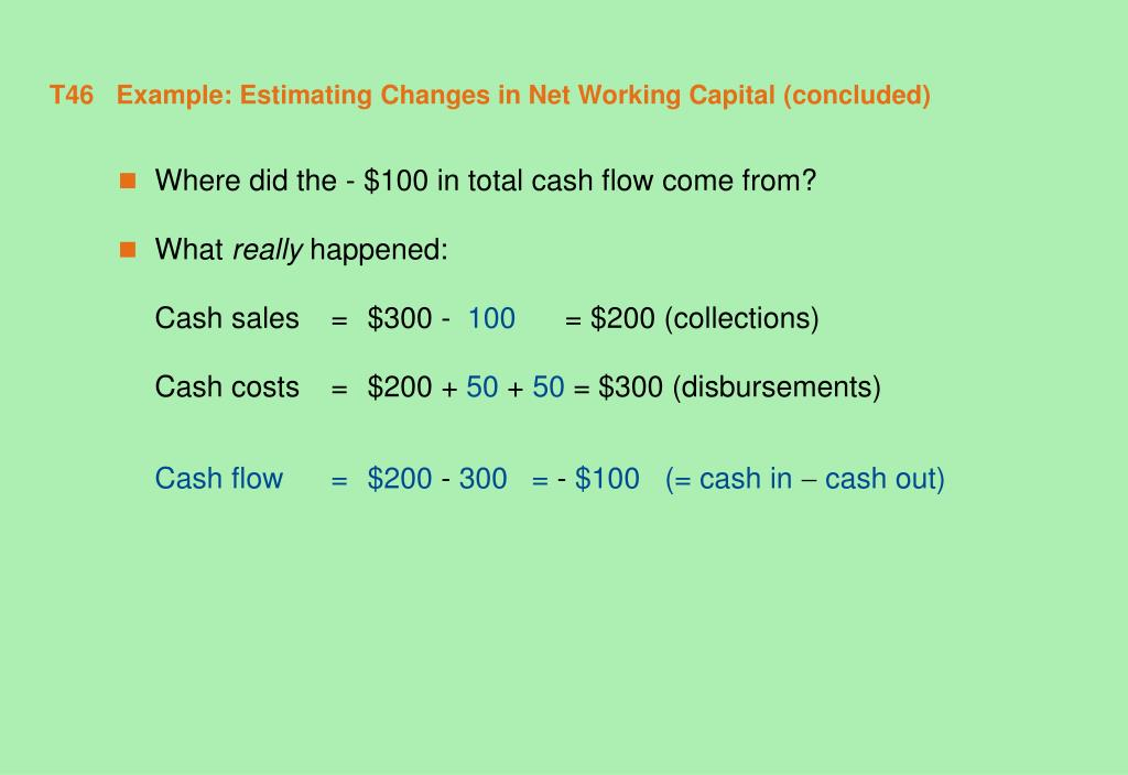T46   Example: Estimating Changes in Net Working Capital (concluded)