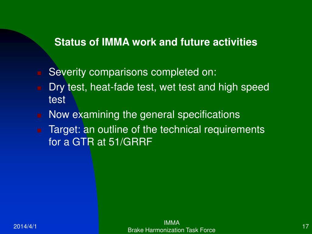 Status of IMMA work and future activities