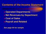 contents of the income statement