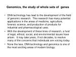 genomics the study of whole sets of genes