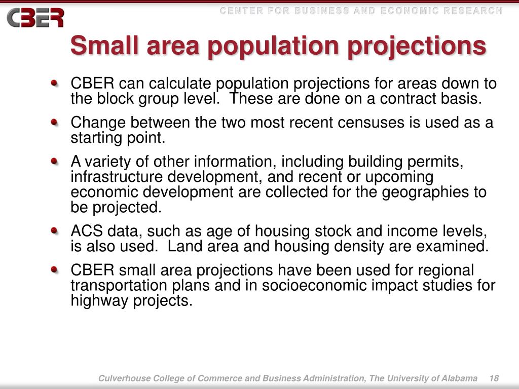 Small area population projections