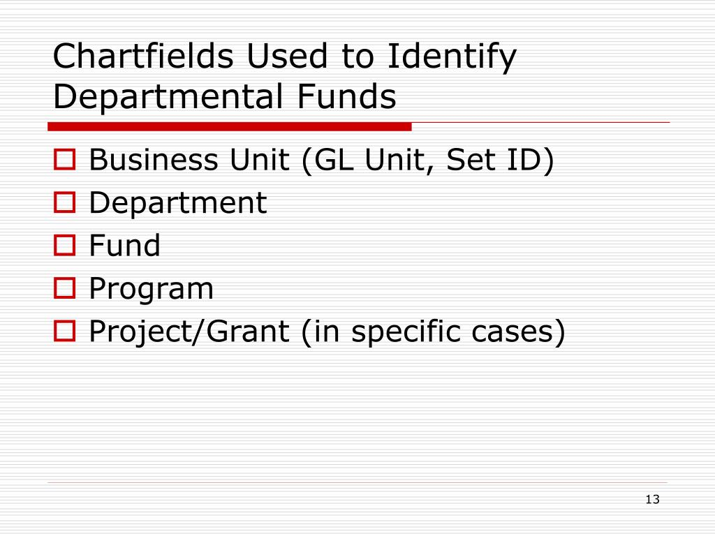 Chartfields Used to Identify Departmental Funds