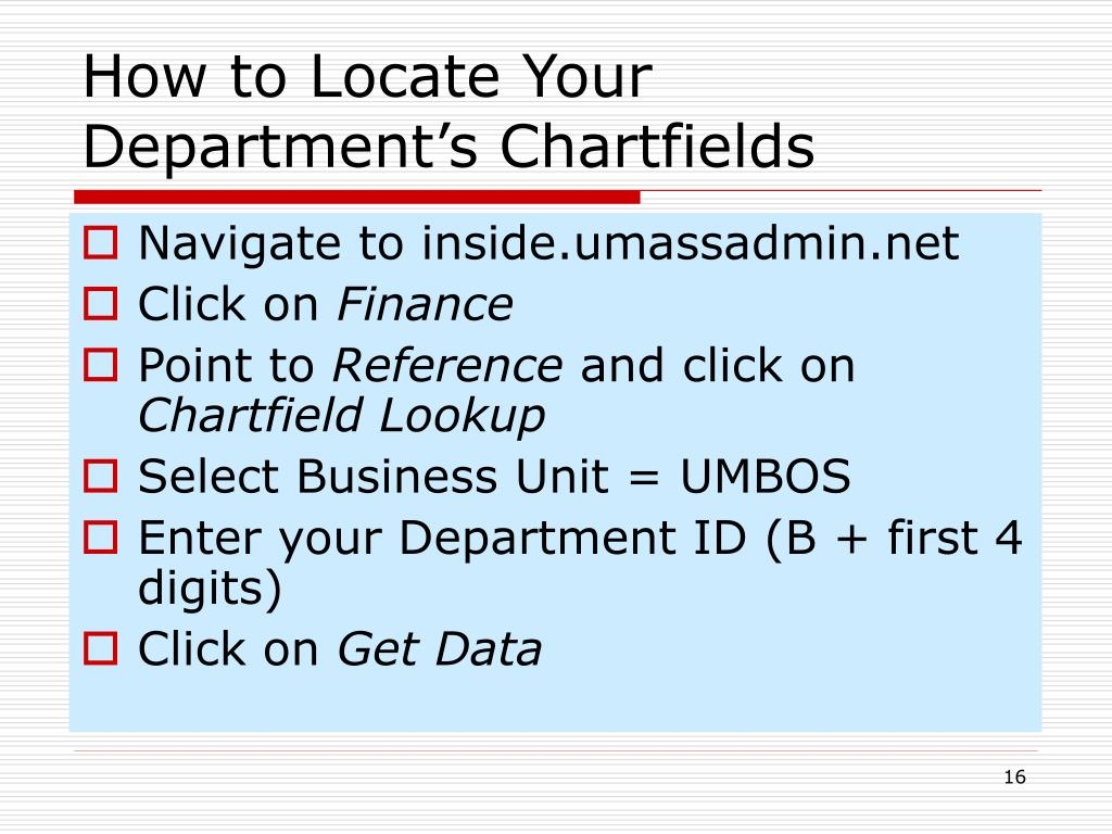 How to Locate Your Department's Chartfields