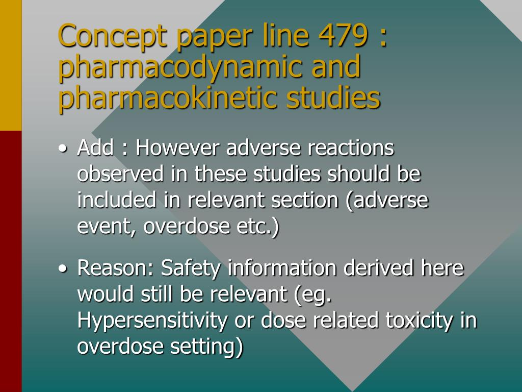 Concept paper line 479 : pharmacodynamic and pharmacokinetic studies
