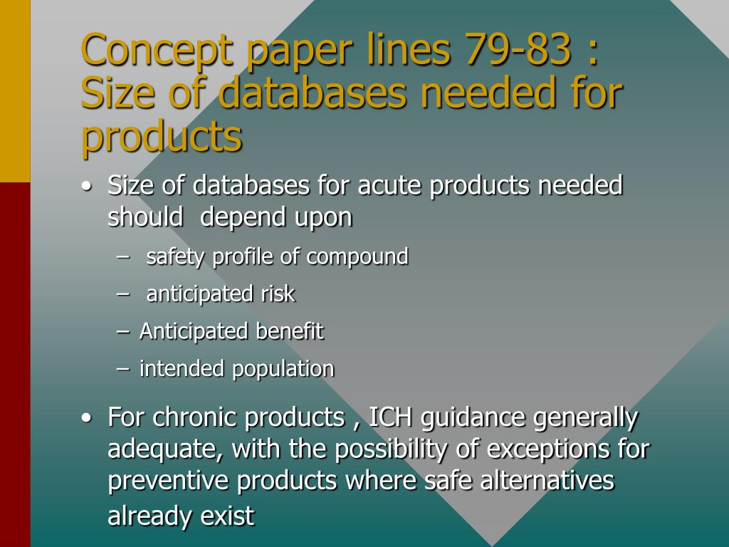 Concept paper lines 79-83 : Size of databases needed for products