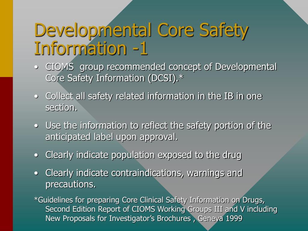 Developmental Core Safety Information -1