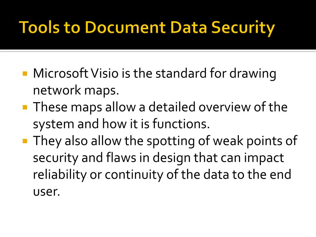 Tools to Document Data Security