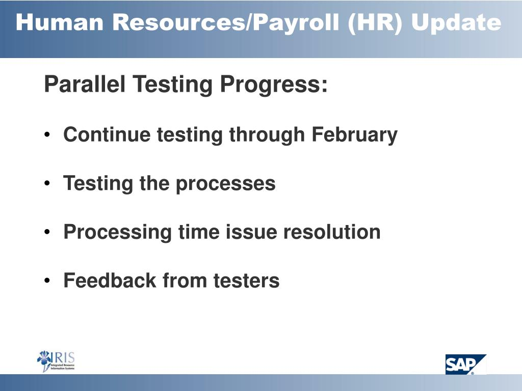 Human Resources/Payroll (HR) Update