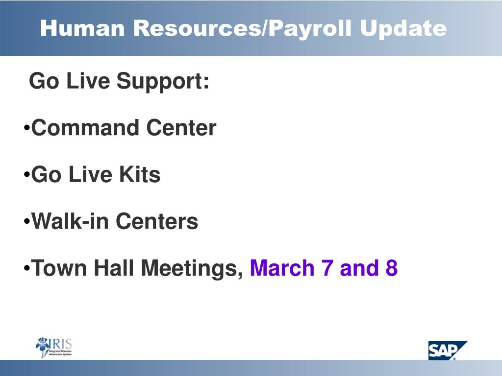 Human Resources/Payroll Update