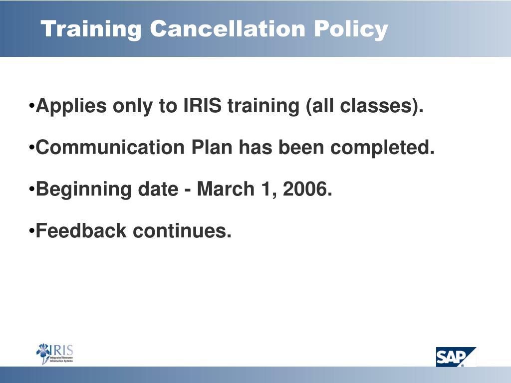 Training Cancellation Policy