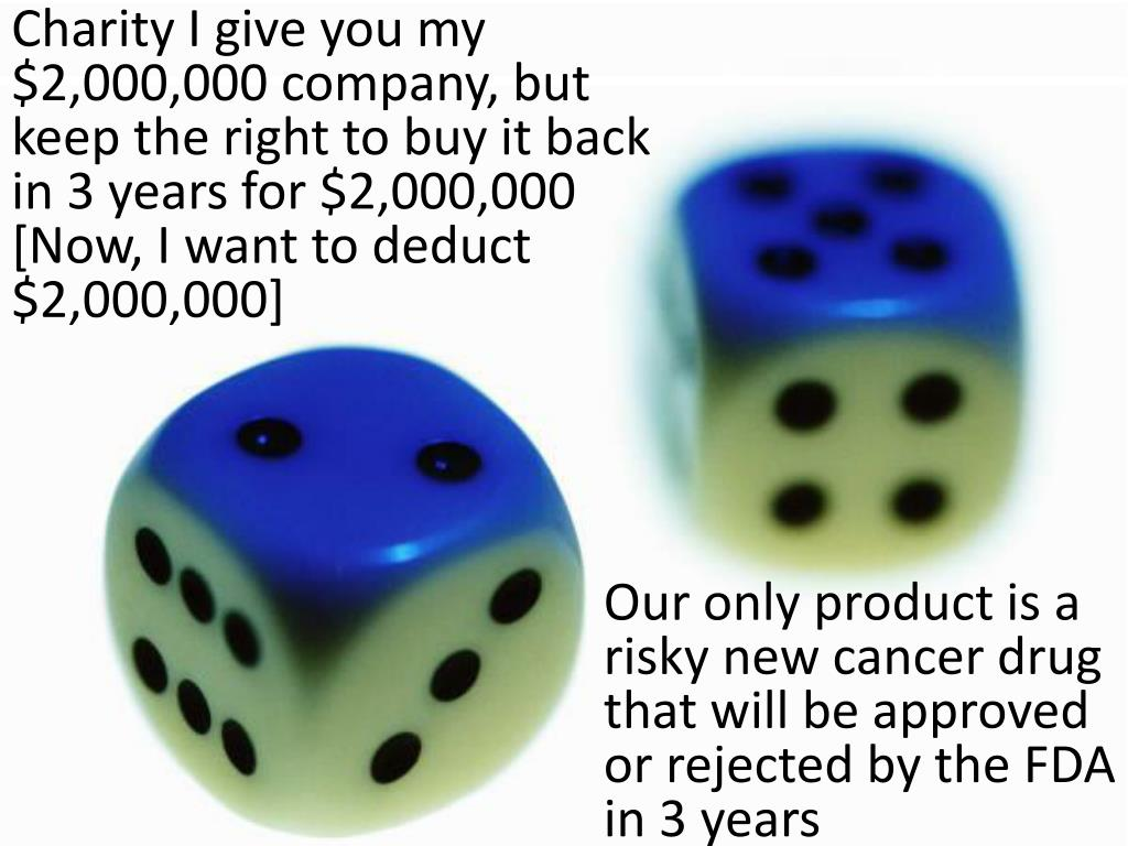 Charity I give you my $2,000,000 company, but keep the right to buy it back in 3 years for $2,000,000 [Now, I want to deduct $2,000,000]