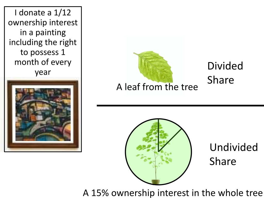 I donate a 1/12 ownership interest in a painting including the right to possess 1 month of every year