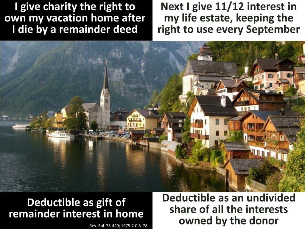 I give charity the right to own my vacation home after I die by a remainder deed