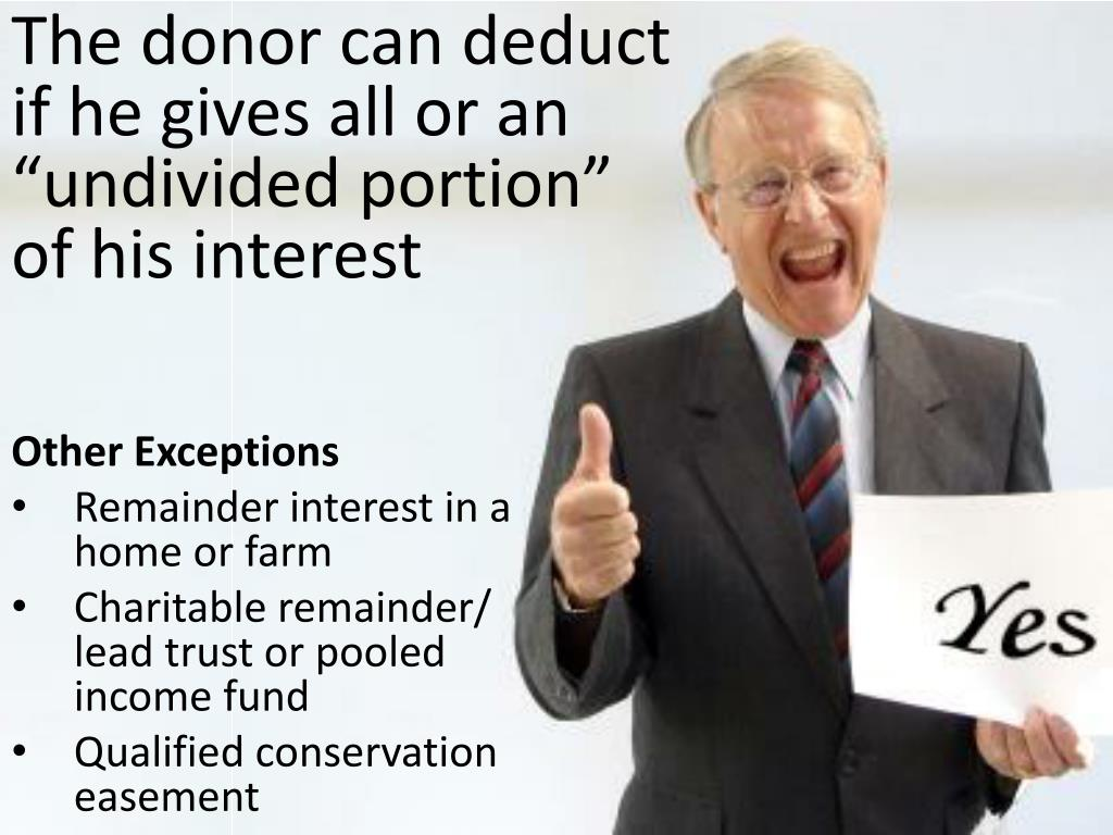 """The donor can deduct if he gives all or an """"undivided portion"""" of his interest"""