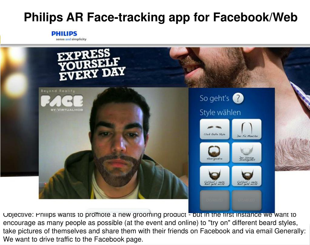 Philips AR Face-tracking app for Facebook/Web