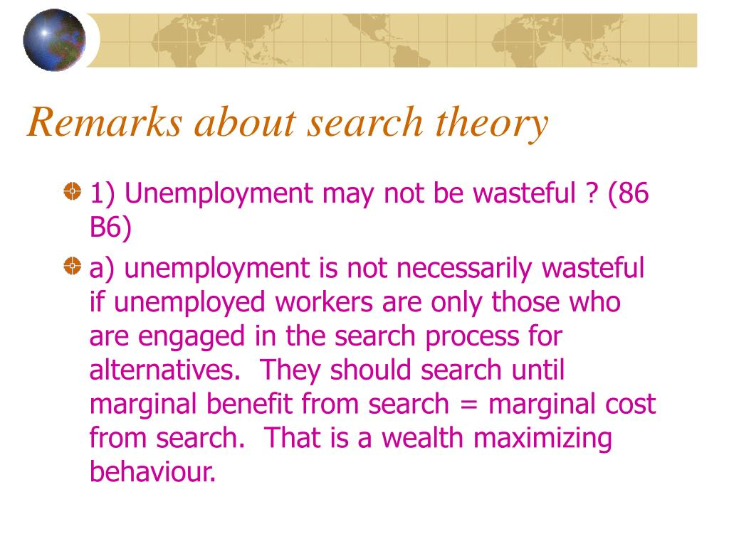 Remarks about search theory