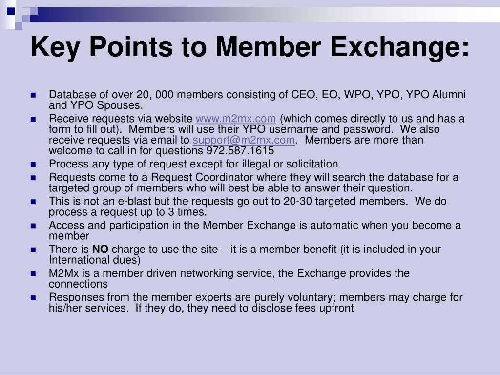 Key Points to Member Exchange: