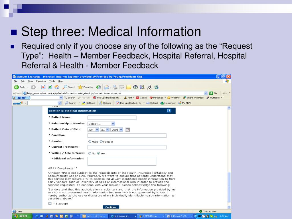 Step three: Medical Information