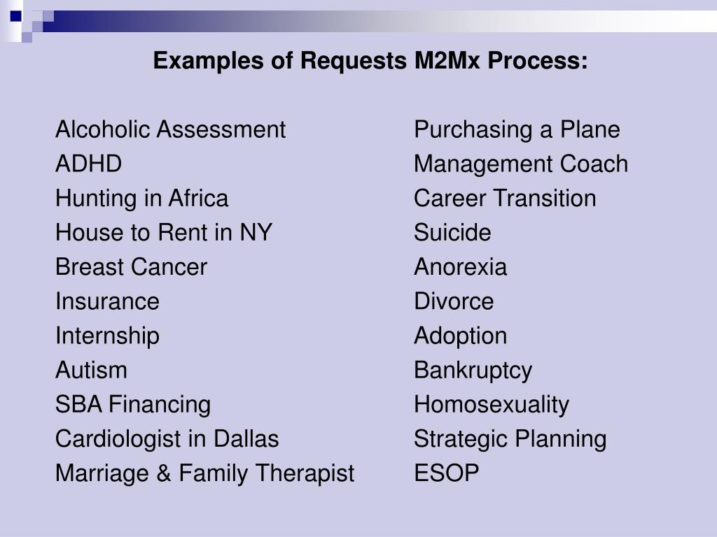 Examples of Requests M2Mx Process: