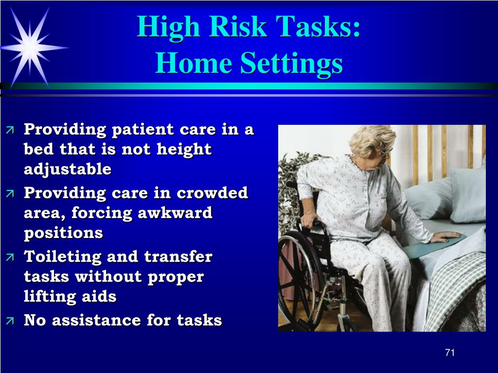 Providing patient care in a bed that is not height adjustable