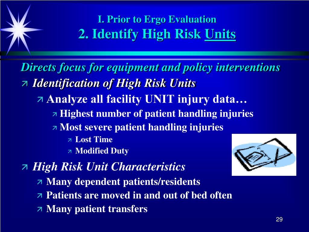 I. Prior to Ergo Evaluation
