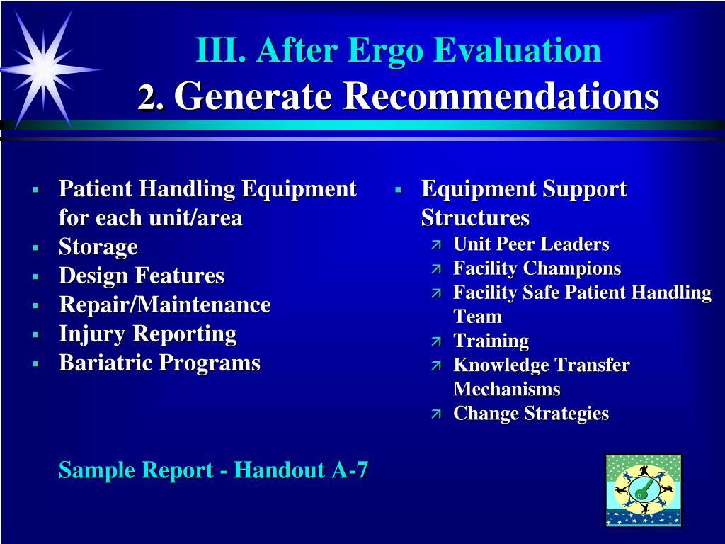 Patient Handling Equipment   for each unit/area