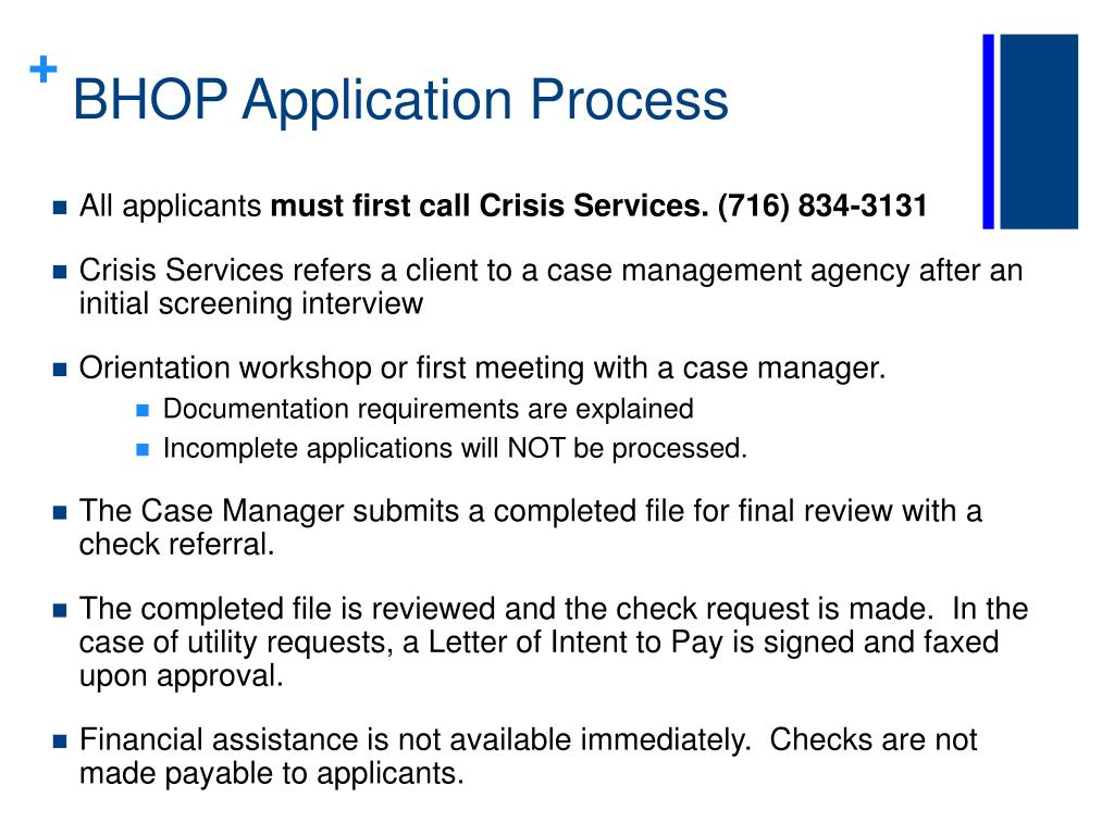 BHOP Application Process