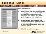section 2 list b