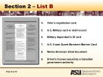 section 2 list b22