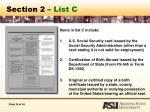 section 2 list c